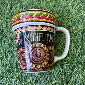 Vintage Kitchen - Vintage Sunflower Seeds Floral Coffee Tea Mug Cup